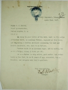Letter from E. S. Weakley to Major W. E. Groves re: Inquiry about Hotel Employee Matthew Smith, April 21, 1917